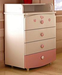 Верес Комод-пеленатор слим (бело-розовый)